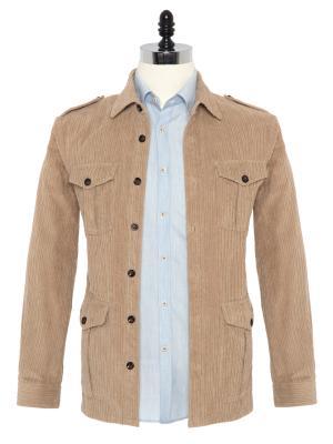 Germirli - Germirli Bej Kalın Fitilli Tailor Fit Ceket Gömlek