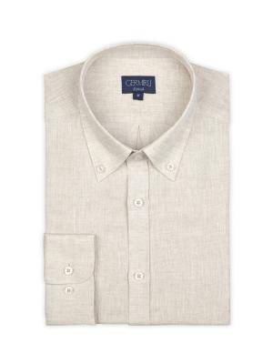Germirli - Germirli Bej Keten Düğmeli Yaka Tailor Fit Gömlek (1)