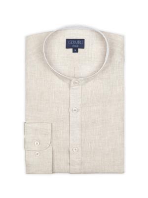 Germirli - Germirli Bej Keten Hakim Yaka Tailor Fit Gömlek (1)
