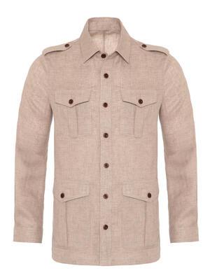 Germirli - Germirli Bej Dokulu Keten Tailor Fit Ceket Gömlek (1)