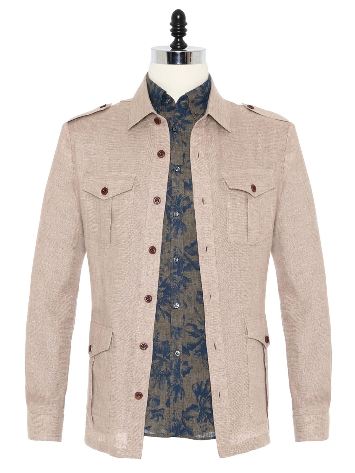 Germirli Bej Dokulu Keten Tailor Fit Ceket Gömlek