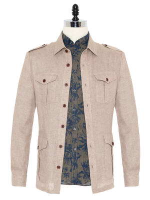 Germirli - Germirli Beige Linen Tailor Fit Jacket Shirt