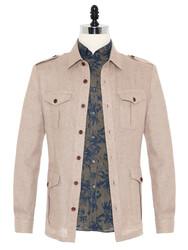 Germirli - Germirli Bej Dokulu Keten Tailor Fit Ceket Gömlek