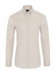 Germirli Bej Oxford Düğmeli Yaka Tailor Fit Gömlek - Thumbnail