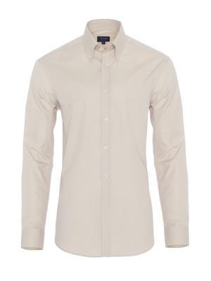 Germirli Bej Oxford Düğmeli Yaka Tailor Fit Gömlek