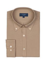 Germirli - Germirli Bej Twill Düğmeli Yaka Tailor Fit Kaşmir Gömlek (1)