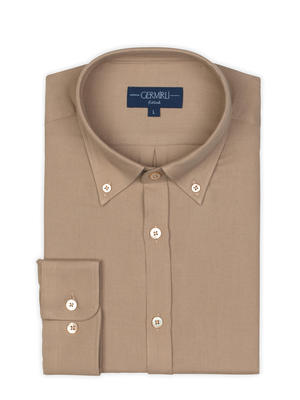 Germirli - Germirli Bej Twill Düğmeli Yaka Tailor Fit Gömlek (1)