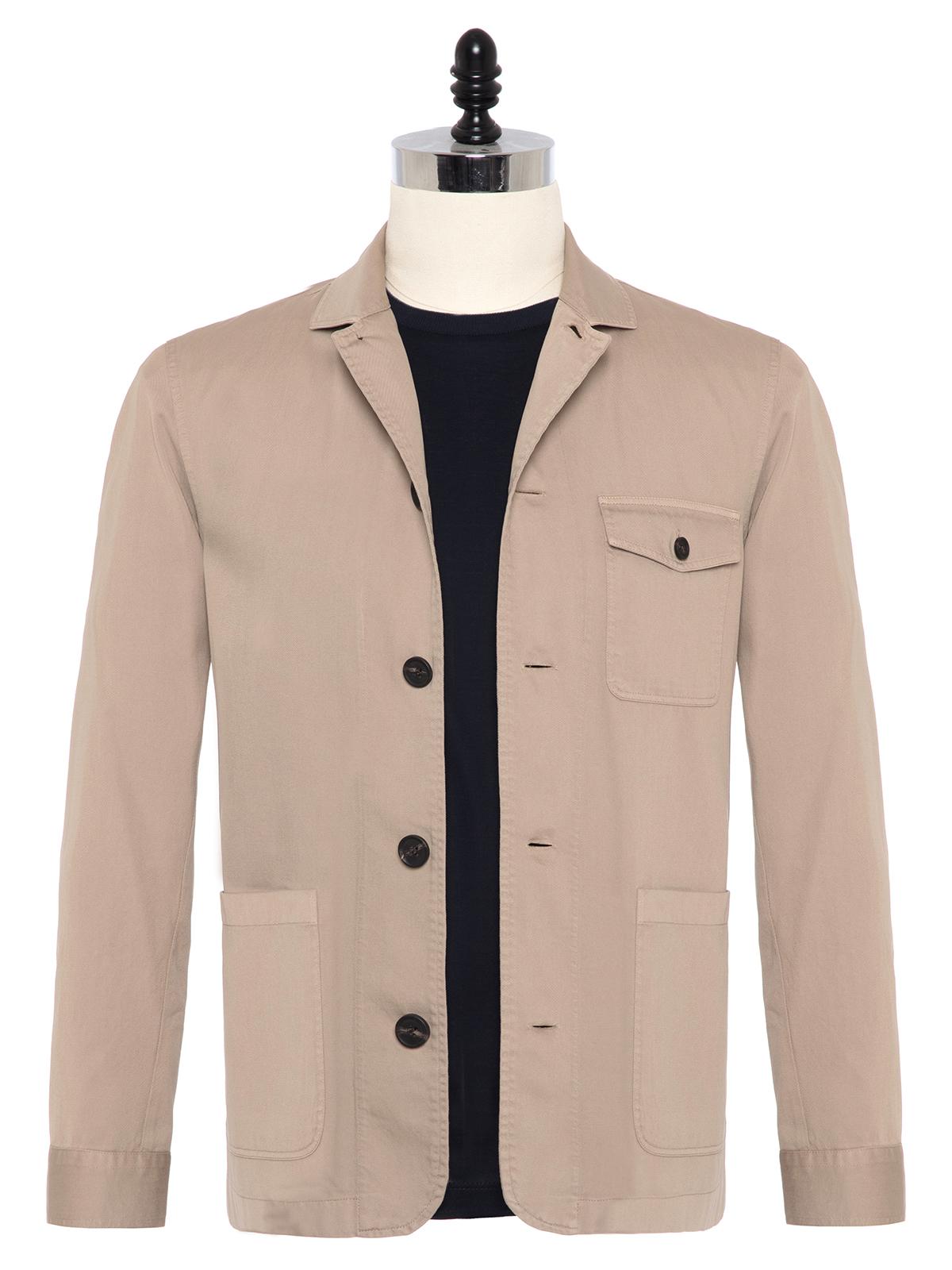 Germirli - Germirli Bej Twill Vintage Tailor Fit Ceket Gömlek