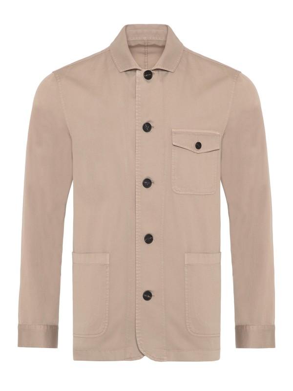 Germirli - Germirli Bej Twill Vintage Tailor Fit Ceket Gömlek (1)