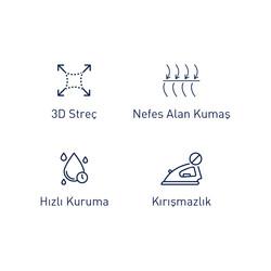Germirli Beyaz 3D Streç Slim Fit Active Gömlek - Thumbnail