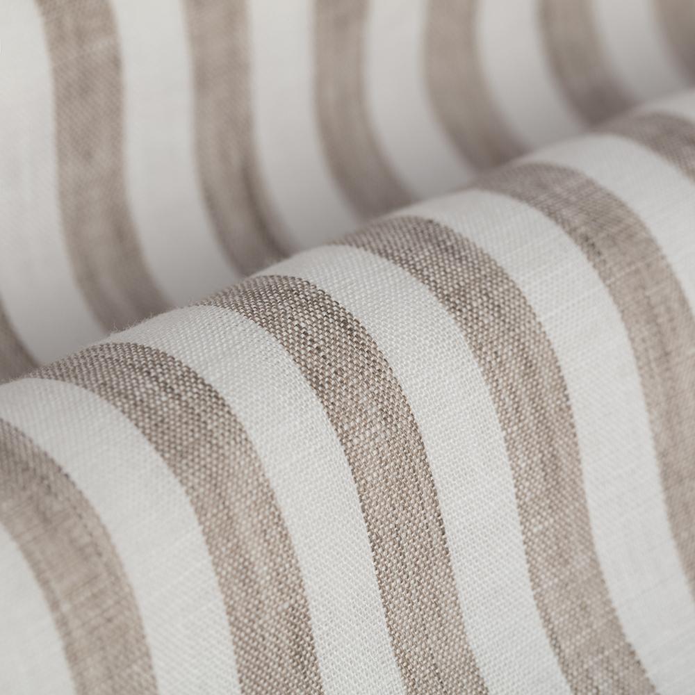 Germirli Beyaz A.Kahve Çizgili Keten Düğmeli Yaka Tailor Fit Gömlek