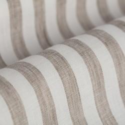 Germirli Beyaz A.Kahve Çizgili Keten Düğmeli Yaka Tailor Fit Gömlek - Thumbnail