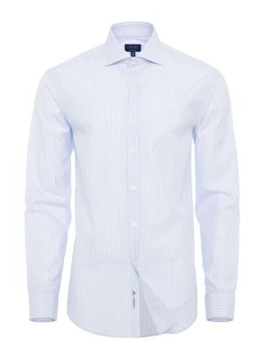 Germirli - Germirli Beyaz A.Mavi Kareli Klasik Yaka Tailor Fit Gömlek