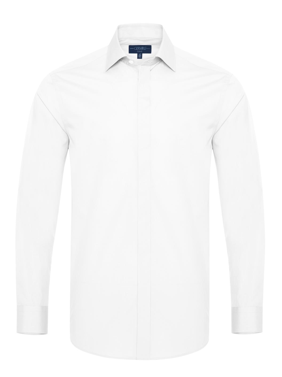 Germirli Beyaz Balıksırtı Gizli Pat Klasik Yaka Tailor Fit Gömlek
