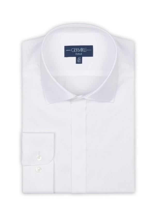 Germirli - Germirli Beyaz Balıksırtı Gizli Pat Klasik Yaka Tailor Fit Gömlek (1)
