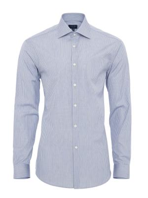 Germirli - Germirli Beyaz Bej Çizgili Klasik Yaka Tailor Fit Gömlek