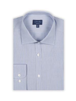 Germirli - Germirli Beyaz Bej Çizgili Klasik Yaka Tailor Fit Gömlek (1)