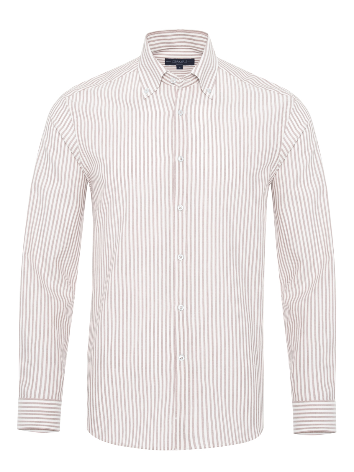 Germirli - Germirli Beyaz Bej Petek Doku Çizgili Düğmeli Yaka Tailor Fit Gömlek