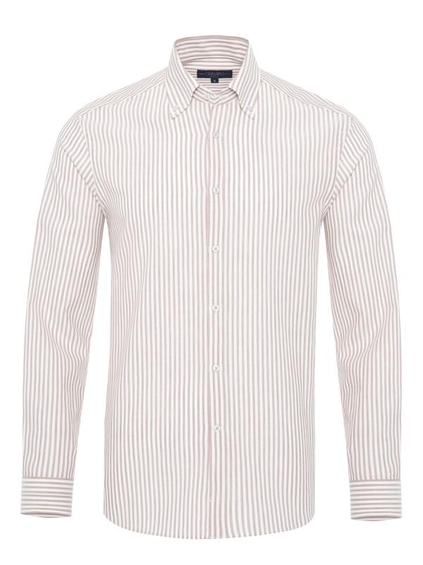 Germirli Beyaz Bej Petek Doku Çizgili Düğmeli Yaka Tailor Fit Gömlek