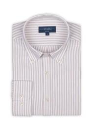 Germirli - Germirli Beyaz Bej Petek Doku Çizgili Düğmeli Yaka Tailor Fit Gömlek (1)