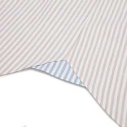 Germirli Beyaz Bej Petek Doku Çizgili Düğmeli Yaka Tailor Fit Gömlek - Thumbnail
