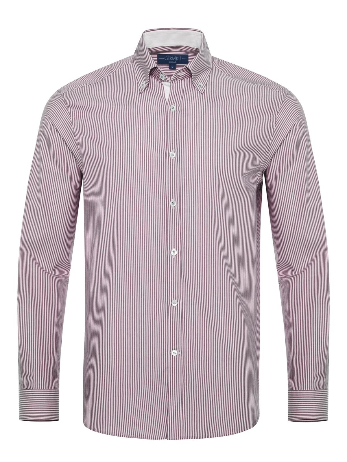 Germirli - Germirli Beyaz Bordo Panama Dokulu Çizgili Düğmeli Yaka Tailor Fit Gömlek