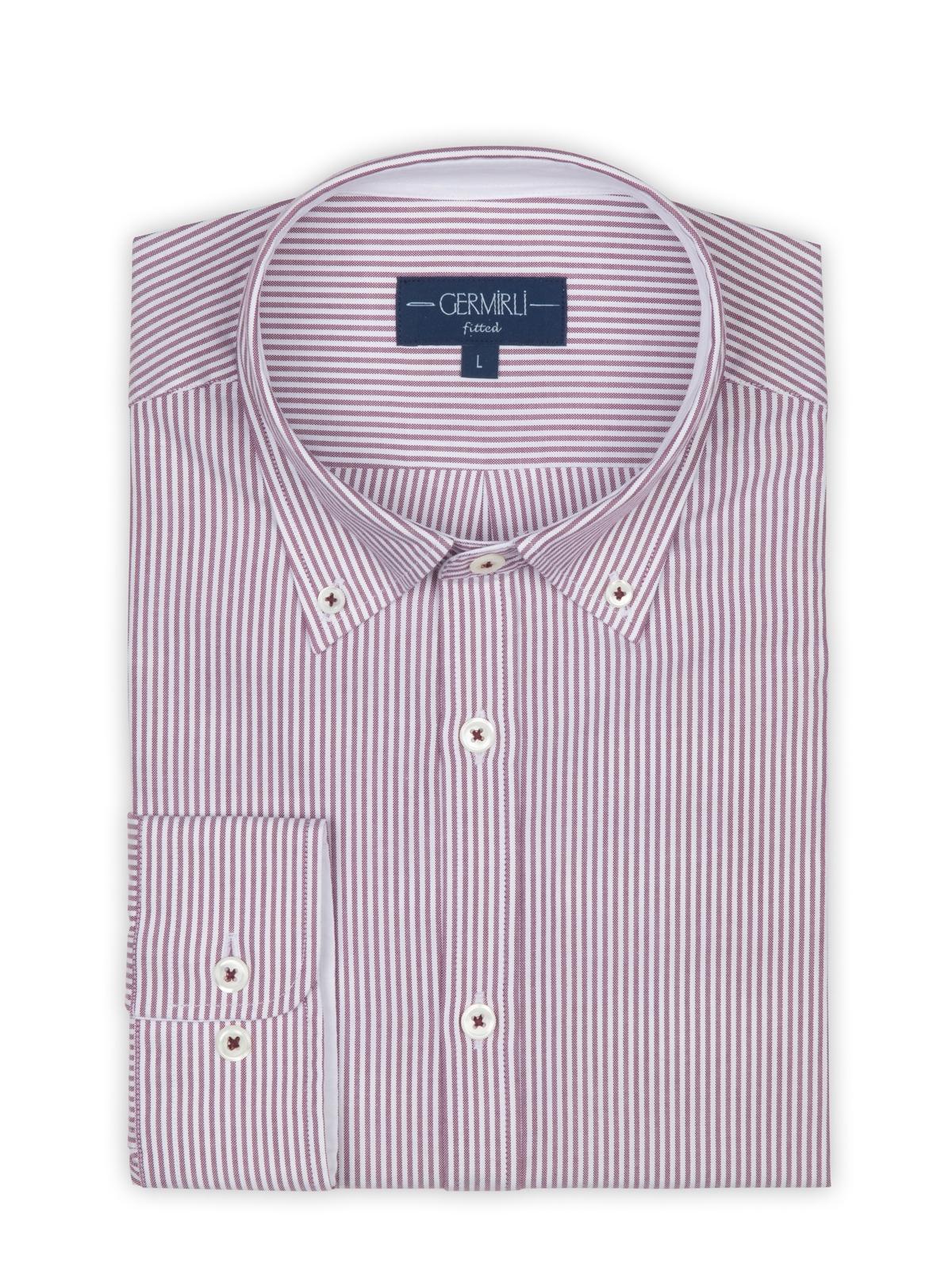 Germirli Beyaz Bordo Panama Dokulu Çizgili Düğmeli Yaka Tailor Fit Gömlek