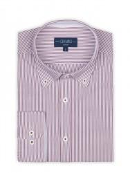 Germirli - Germirli Beyaz Bordo Panama Dokulu Çizgili Düğmeli Yaka Tailor Fit Gömlek (1)