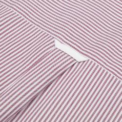 Germirli Beyaz Bordo Panama Dokulu Çizgili Düğmeli Yaka Tailor Fit Gömlek - Thumbnail