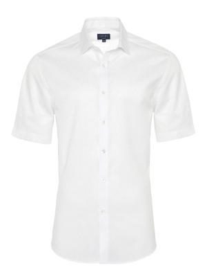 Germirli - Germirli Beyaz Desenli Klasik Yaka Kısa Kollu Tailor Fit Gömlek
