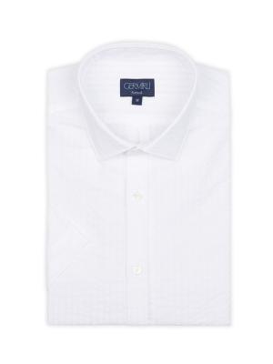 Germirli - Germirli Beyaz Desenli Klasik Yaka Kısa Kollu Tailor Fit Gömlek (1)
