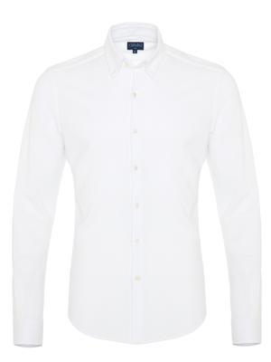Germirli - Germirli Beyaz Düğmeli Yaka Piquet Örme Slim Fit Gömlek