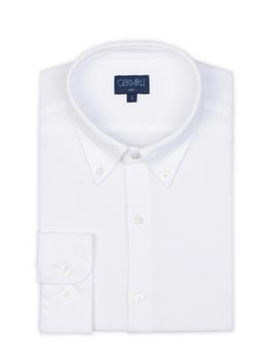 Germirli - Germirli Beyaz Düğmeli Yaka Piquet Örme Slim Fit Gömlek (1)