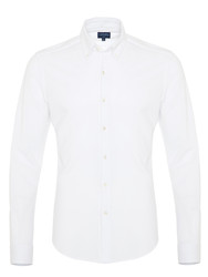 Germirli Beyaz Düğmeli Yaka Piquet Örme Slim Fit Gömlek - Thumbnail