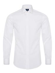 Germirli Beyaz Gizli Pat Klasik Yaka Tailor Fit Gömlek - Thumbnail