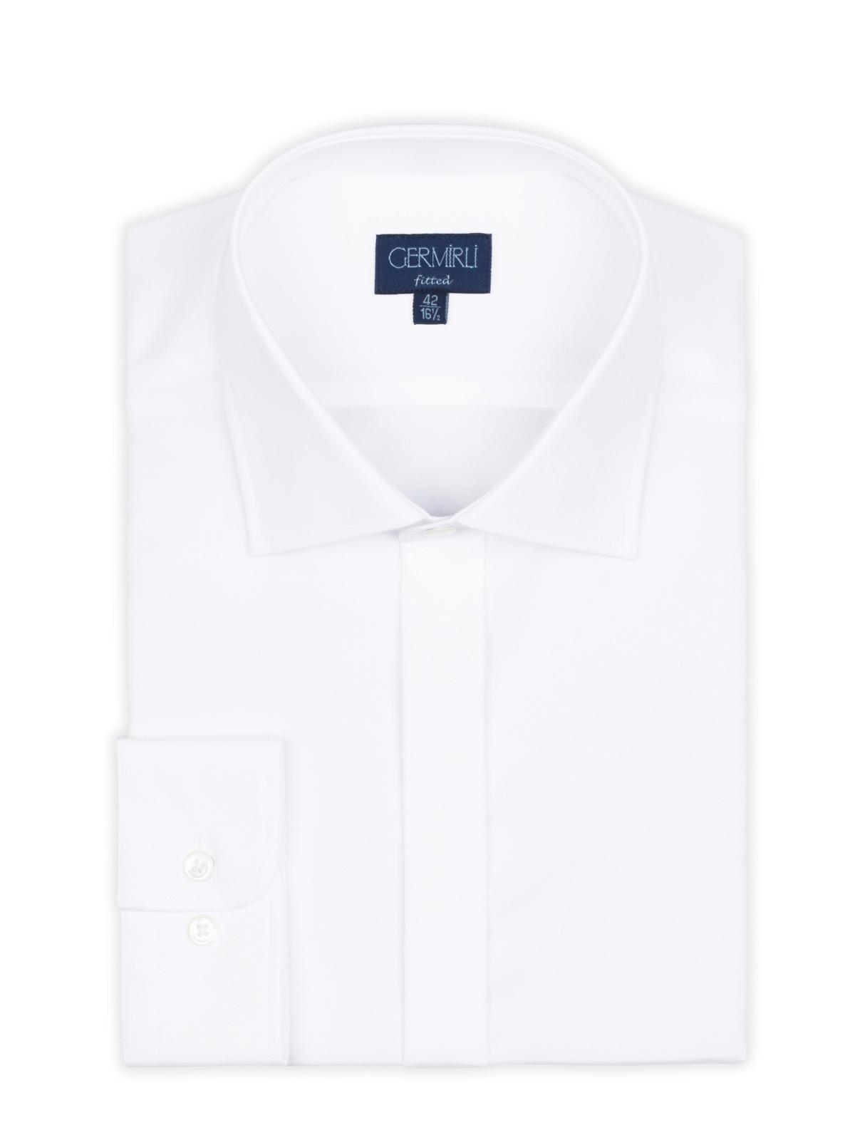 Germirli Beyaz Gizli Pat Klasik Yaka Tailor Fit Gömlek