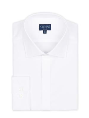 Germirli - Germirli Beyaz Gizli Pat Klasik Yaka Tailor Fit Gömlek (1)