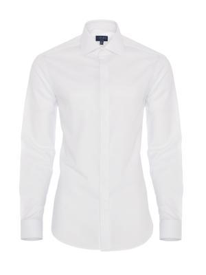 Germirli - Germirli Beyaz Gizli Pat Klasik Yaka Tailor Fit Gömlek
