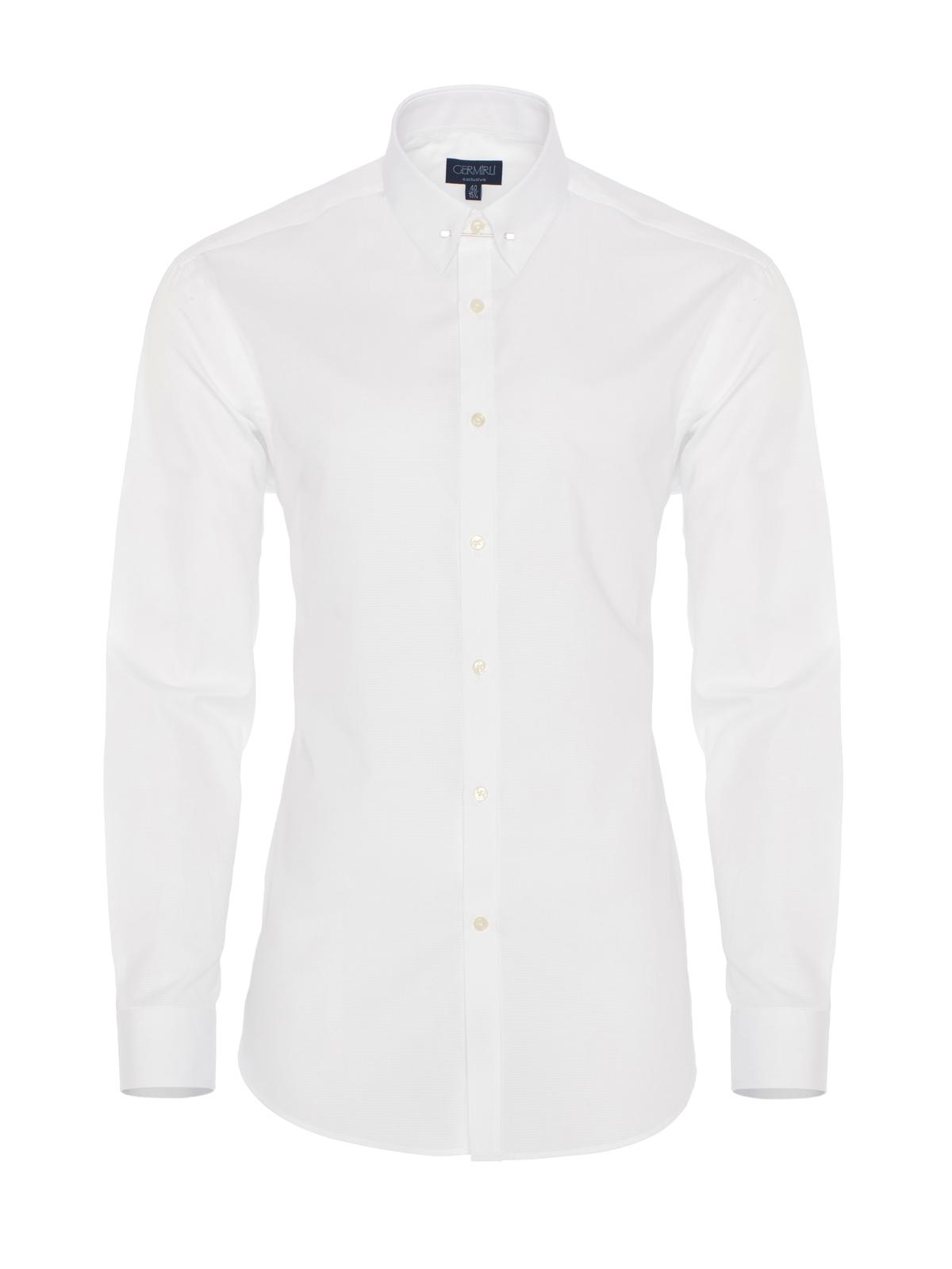 Germirli Beyaz İğneli Yaka Tailor Fit Gömlek