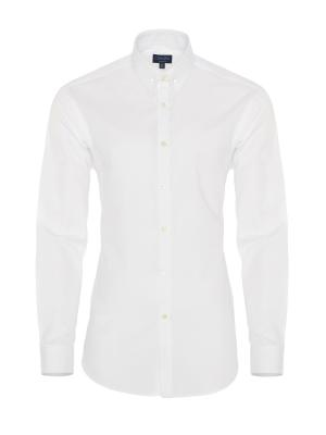 Germirli - Germirli Beyaz İğneli Yaka Tailor Fit Gömlek