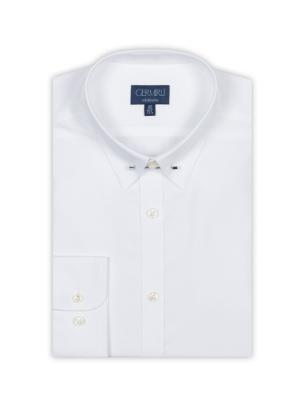 Germirli - Germirli Beyaz İğneli Yaka Tailor Fit Gömlek (1)