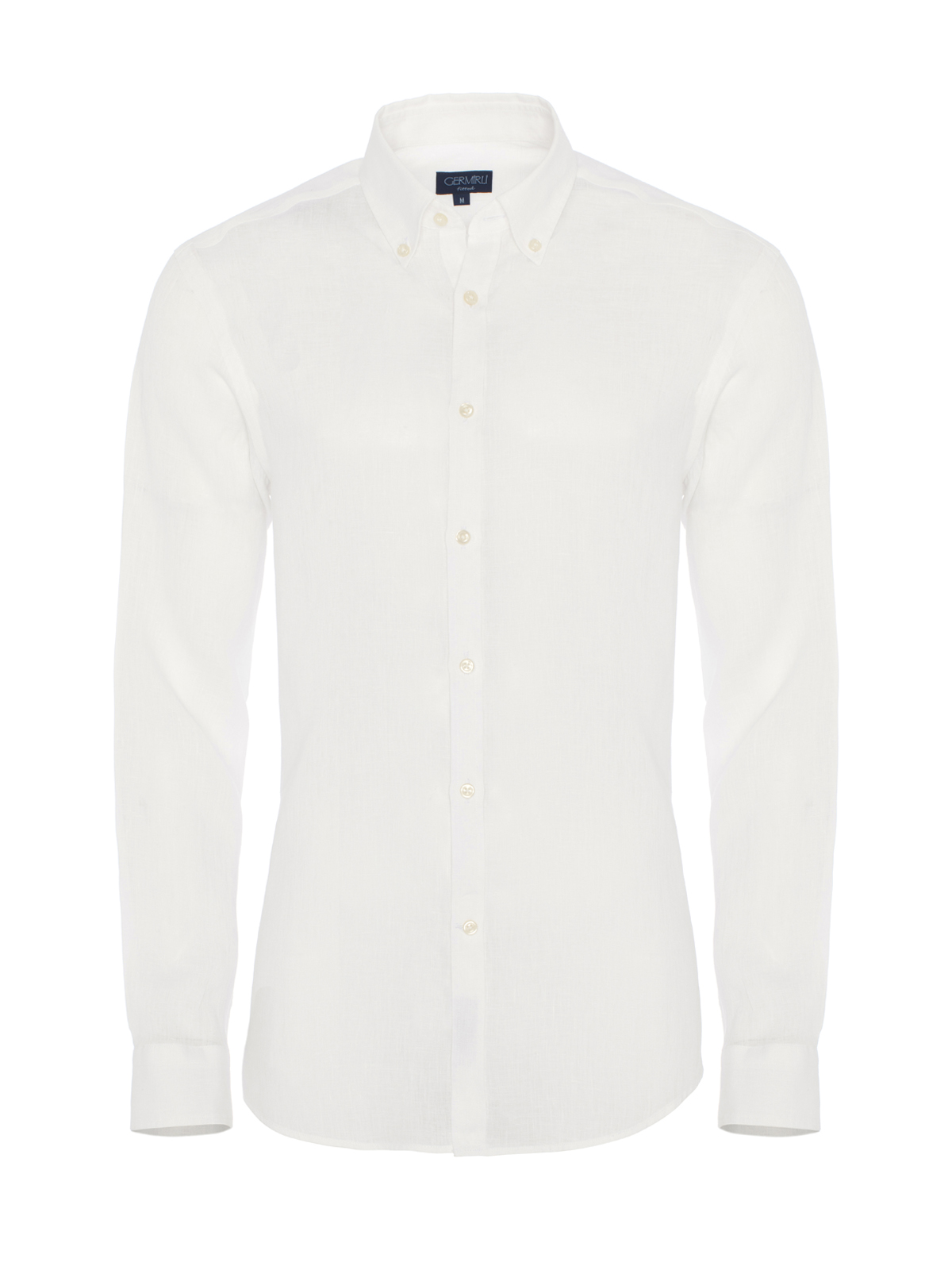 Germirli - Germirli Beyaz Keten Düğmeli Yaka Tailor Fit Gömlek