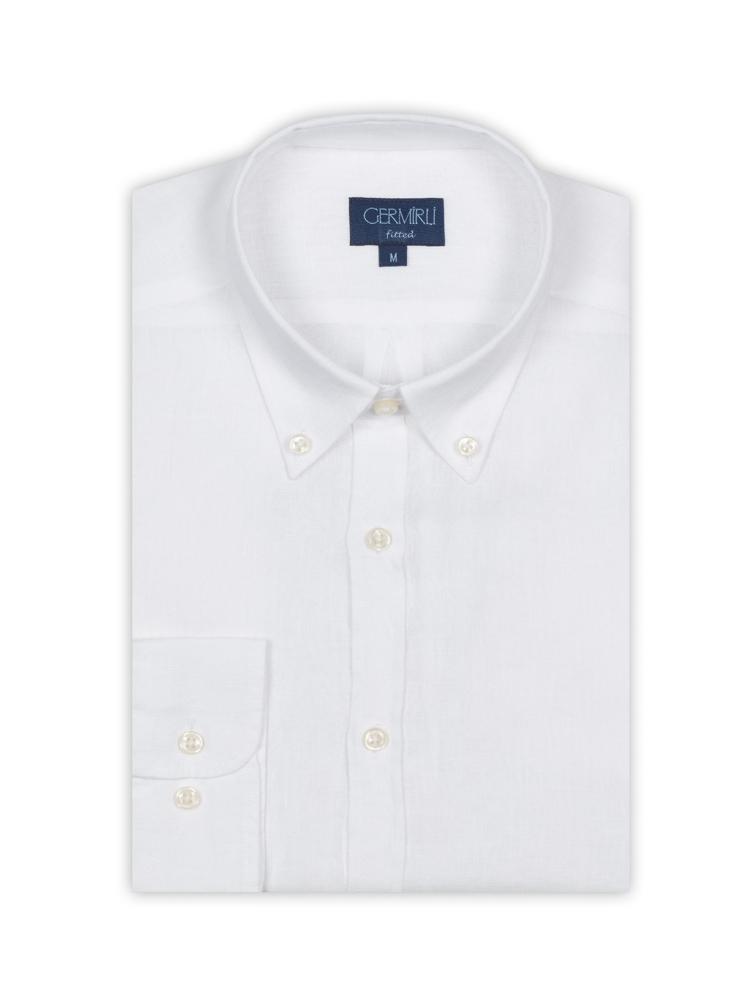Germirli Beyaz Keten Düğmeli Yaka Tailor Fit Gömlek