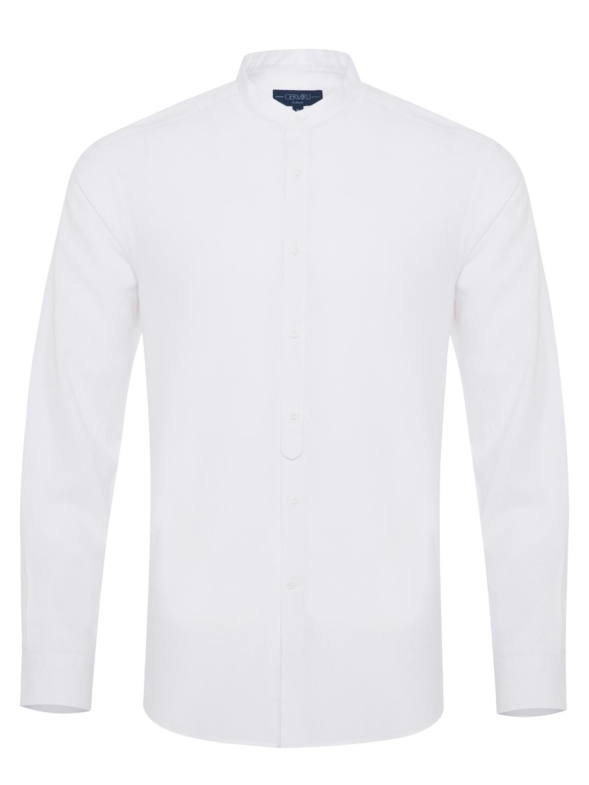 Germirli - Germirli Beyaz Keten Hakim Yaka Tailor Fit Gömlek