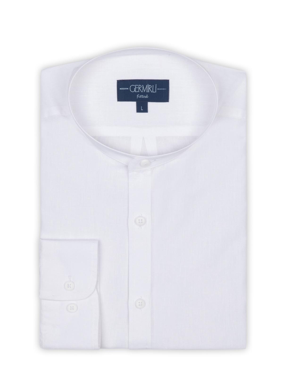 Germirli Beyaz Keten Hakim Yaka Tailor Fit Gömlek