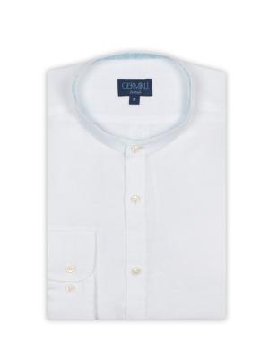 Germirli - Germirli Beyaz Keten Hakim Yaka Tailor Fit Gömlek (1)