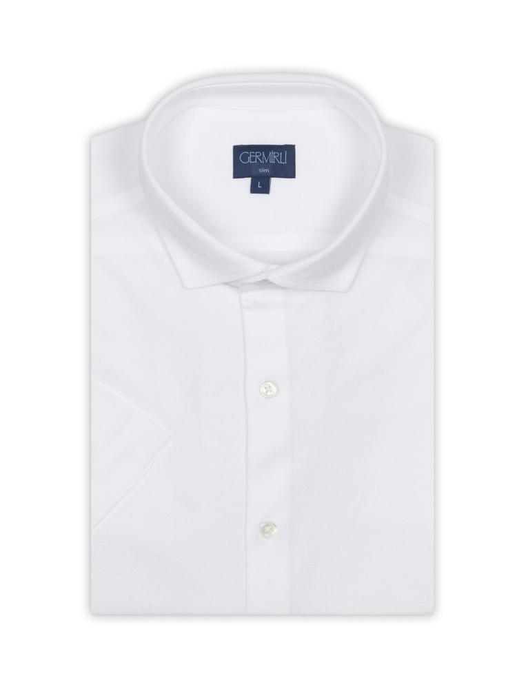 Germirli Beyaz Klasik Yaka Örme Kısa Kollu Slim Fit Gömlek
