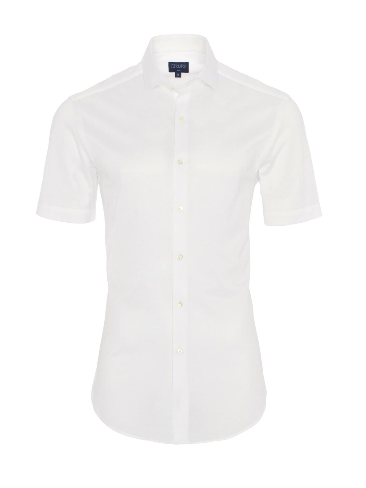Germirli - Germirli Beyaz Klasik Yaka Örme Kısa Kollu Slim Fit Gömlek