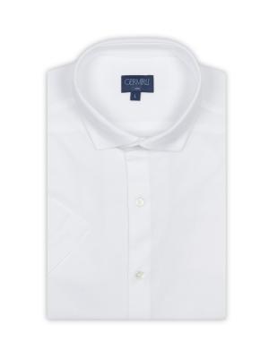 Germirli - Germirli Beyaz Klasik Yaka Örme Kısa Kollu Slim Fit Gömlek (1)