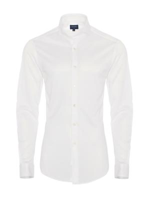 Germirli - Germirli Beyaz Klasik Yaka Piquet Örme Slim Fit Gömlek